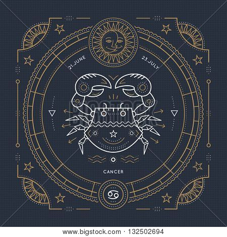 Vintage thin line Cancer zodiac sign label. Retro vector astrological symbol mystic sacred geometry element emblem logo. Stroke outline illustration.