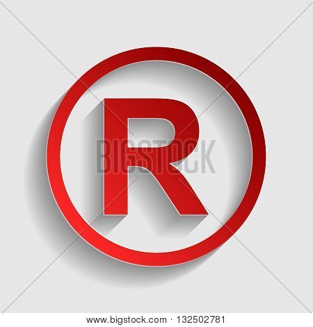 Registered Trademark sign. Red paper style icon with shadow on gray.