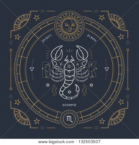 Vintage thin line Scorpio zodiac sign label. Retro vector astrological symbol mystic sacred geometry element emblem logo. Stroke outline illustration.