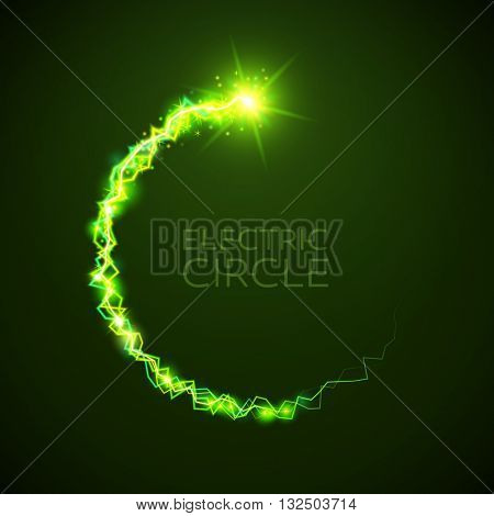 Bright light bolts and stars on dark background