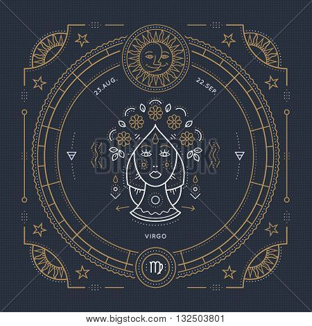 Vintage thin line Virgo zodiac sign label. Retro vector astrological symbol mystic sacred geometry element emblem logo. Stroke outline illustration.