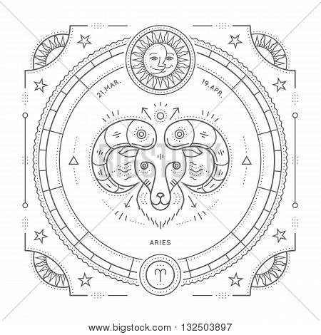 Vintage thin line Aries zodiac sign label. Retro vector astrological symbol mystic sacred geometry element emblem logo. Stroke outline illustration. Isolated on white background.