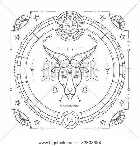 Vintage thin line Capricorn zodiac sign label. Retro vector astrological symbol mystic sacred geometry element emblem logo. Stroke outline illustration. Isolated on white background.