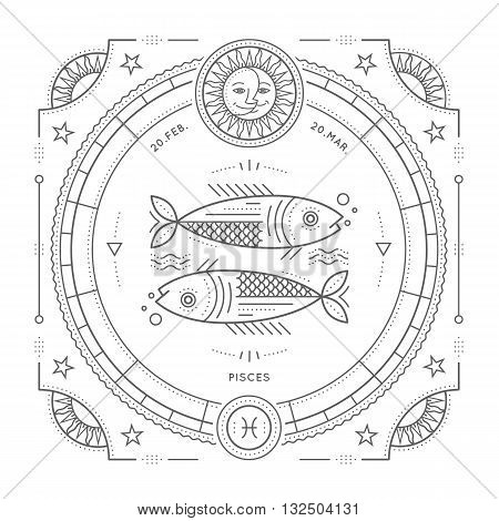Vintage thin line Pisces zodiac sign label. Retro vector astrological symbol mystic sacred geometry element emblem logo. Stroke outline illustration. Isolated on white background.