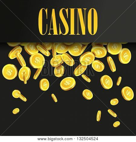 Casino Poster Background or Flyer with Falling Golden Money Coins. Vector Template. Casino Banner. Casino Games Gambling Template background.