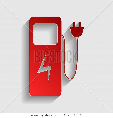Electric car charging station sign. Red paper style icon with shadow on gray.