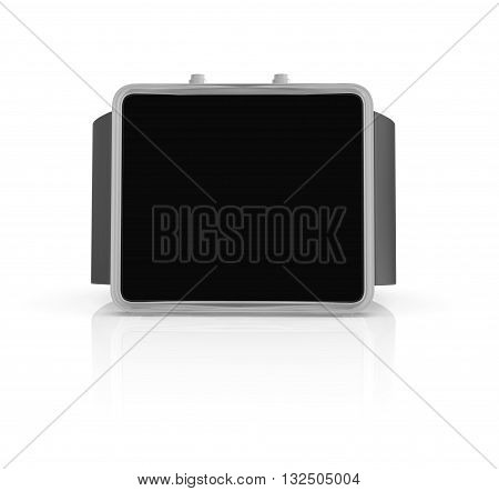Electronic wristwatch with empty black screen on white background. 3D rendering