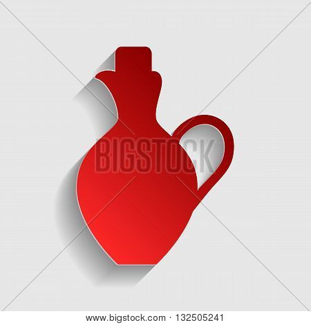 Amphora sign illustration. Red paper style icon with shadow on gray.