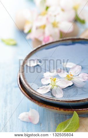 Scented oil and spring flowers for spa and aromatherapy on wooden table.