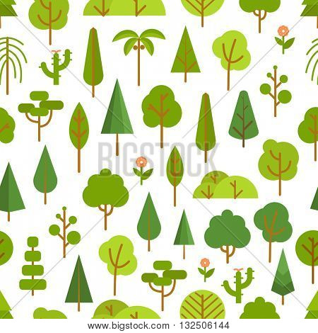 Different trees collection. Lineart design seamless pattern
