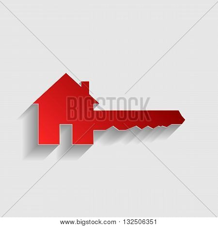 Home Key sign. Red paper style icon with shadow on gray.
