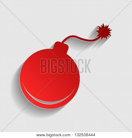 Bomb sign illustration. Red paper style icon with shadow on gray.