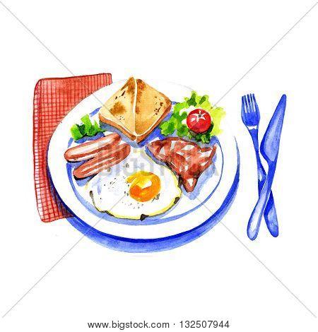Watercolor English Breakfast Scrambled Eggs