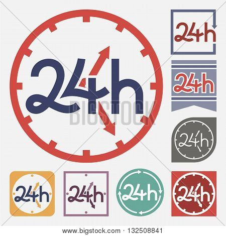 Service and support sign. 24 hours a day and 7 days a week symbol variations vector illustration