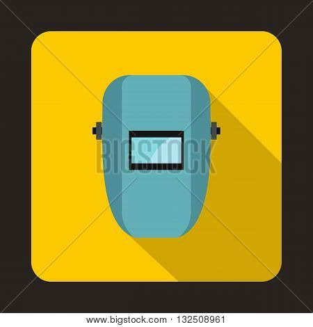 Welding mask icon in flat style on a yellow background
