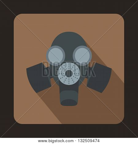 Black gas mask icon in flat style on a brown background