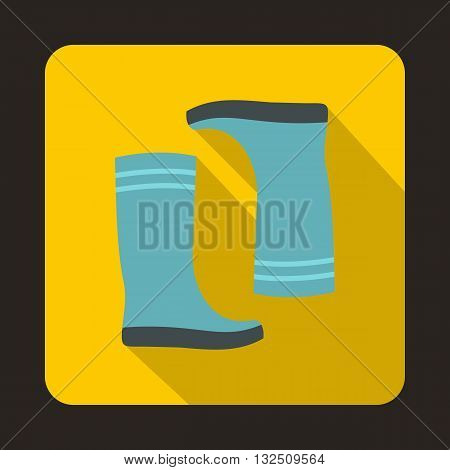 Blue rubber boots icon in flat style on a yellow background