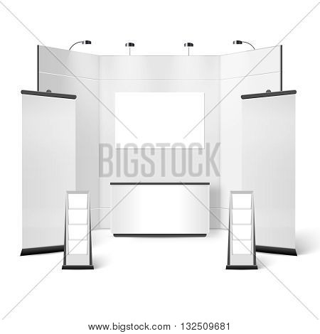 Exhibition Stand Blank Design. Exhibition Stand Template. Exhibition Stand Realistic Vector Illustration. Exhibition Stand Elements.