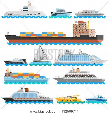 Water transport flat decorative icons set of dry cargo ships cruise liners yachts sailboats isolated vector illustration