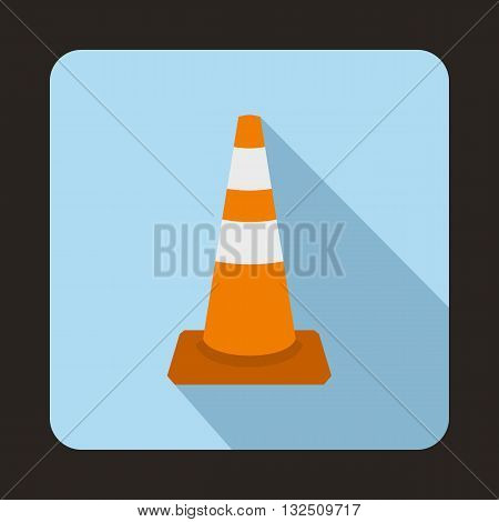 Traffic cone icon in flat style on a blue background