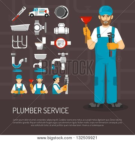 Plumbing service decorative icons set with repairmen pipeline faucet  meter sanitary ware on black background vector illustration