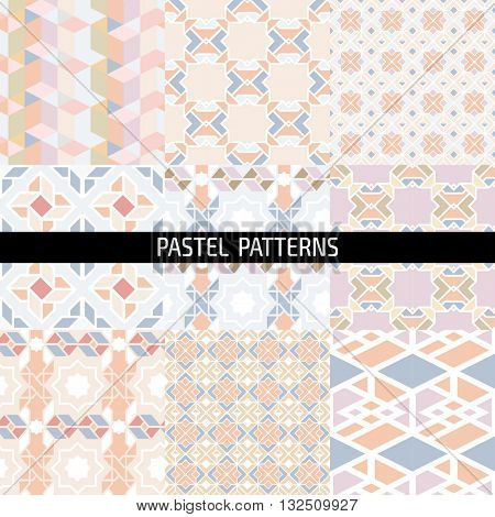 Ethnic islamic arabic morrocan pattern set. Islamic arabic background. Islamic geometry. Seamless vector in arabic style.