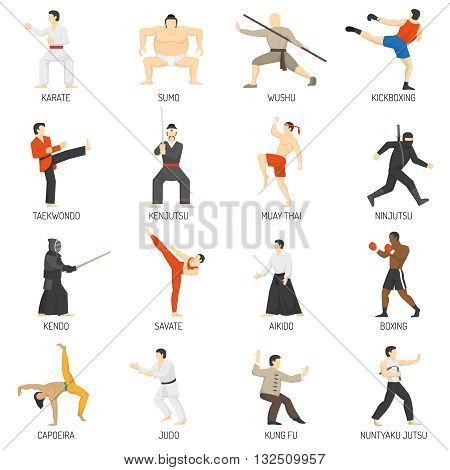Martial arts decorative flat icons set with sumo karate judo ninja taekwondo kung fu isolated vector illustration