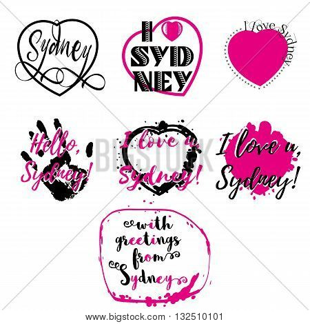 Set of labels with lettering I love Sydney and heart paint splashes in black and pink isolated on white. Collection of souvenir prints for fabric textiles clothing shirts. Vector illustration