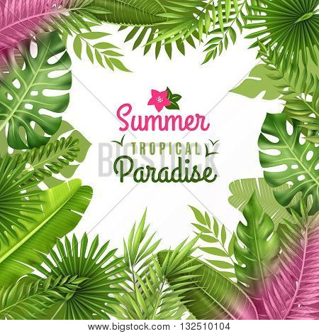 Summer tropical paradise decorative frame or background dezign with opulent rainforest plants foliage composition vector illustration