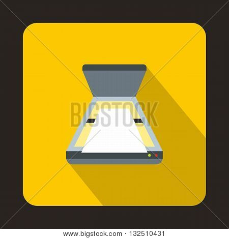 Open scanner icon in flat style on a yellow background