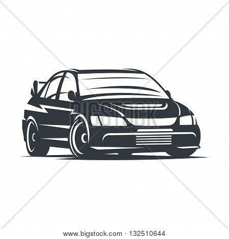 Sport car logo, emblem, badge, illustration on white background.