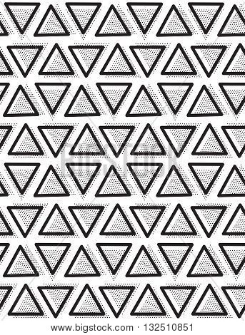 Vector geometric seamless pattern. Repeating abstract triangle in black and white dots. Modern pointillism design