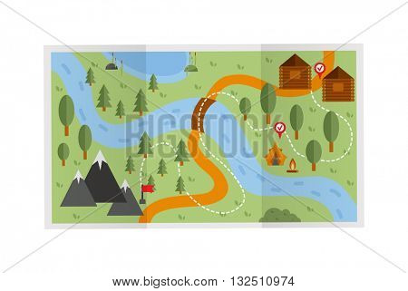 Travel route map vector illustration.