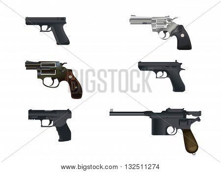 Vector illustration of a six pistols set