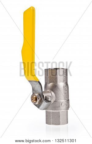 Yellow gas valve isolated on white background