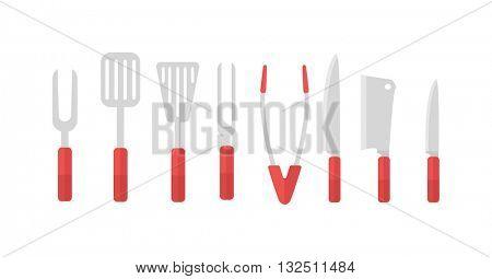 Grill tools vector set.