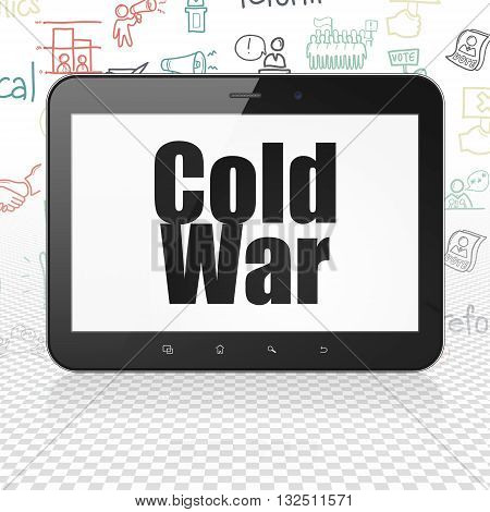 Politics concept: Tablet Computer with  black text Cold War on display,  Hand Drawn Politics Icons background, 3D rendering