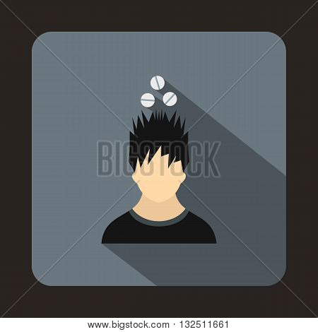 Man with tablets over head icon in flat style on a gray background