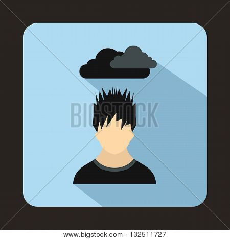 Depressed man with dark cloud over his head icon in flat style on a light blue background