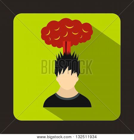 Man with red cloud over head icon in flat style on a green background