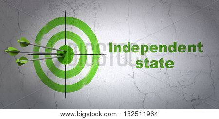 Success political concept: arrows hitting the center of target, Green Independent State on wall background, 3D rendering