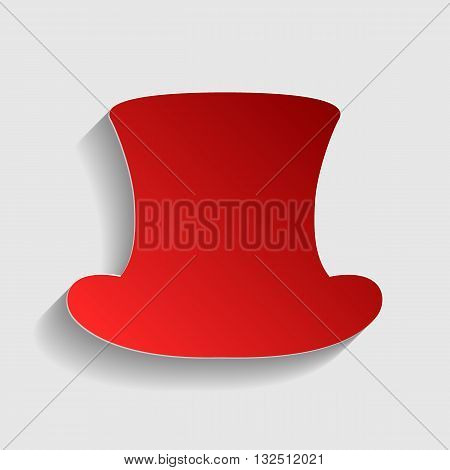 Top hat sign. Red paper style icon with shadow on gray.