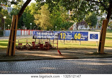 STRASBOURG FRANCE -AUG 20 2015: European Union flag celebration banner in front of the Council of Europe building in Strasbourg France