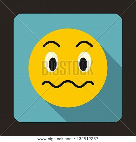 Suspicious emoticon icon in flat style on a blue background