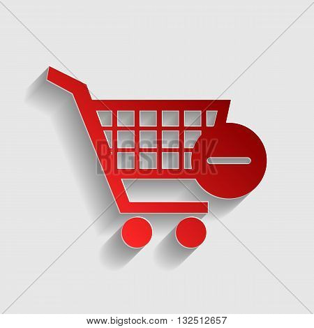 Vector Shopping Cart with Remove sign. Red paper style icon with shadow on gray.