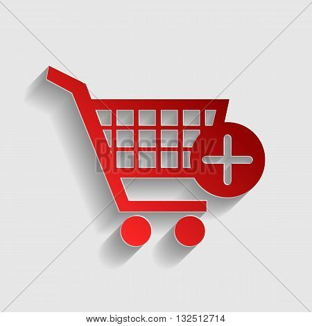 Shopping Cart with add Mark sign. Red paper style icon with shadow on gray.