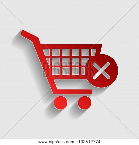 Shopping Cart with delete sign. Red paper style icon with shadow on gray.