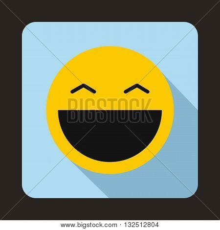 Laughing emoticon with open mouth and smiling eyes icon in flat style on a light blue background