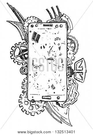 vector - phone abstract with gear isolated on background