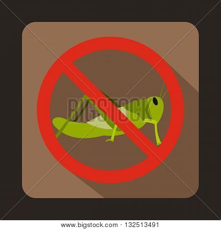 No locust sign icon in flat style on a brown background